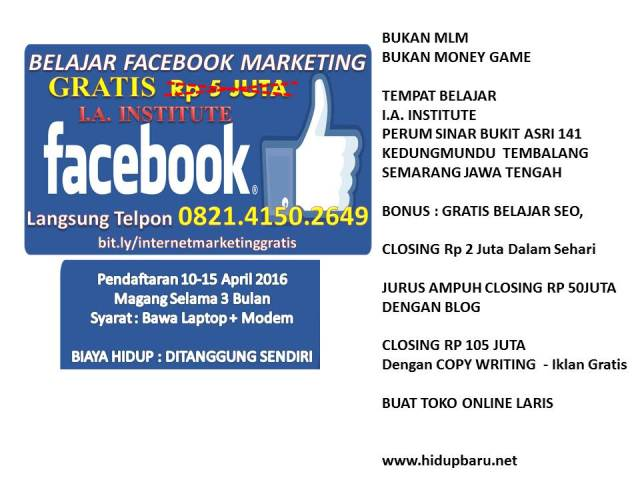 belajar FACEBOOK MARKETING GRATIS 0821-4150-2649 TELKOMSEL